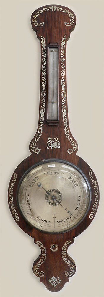 rosewood and inlaid mother of pearl barometer