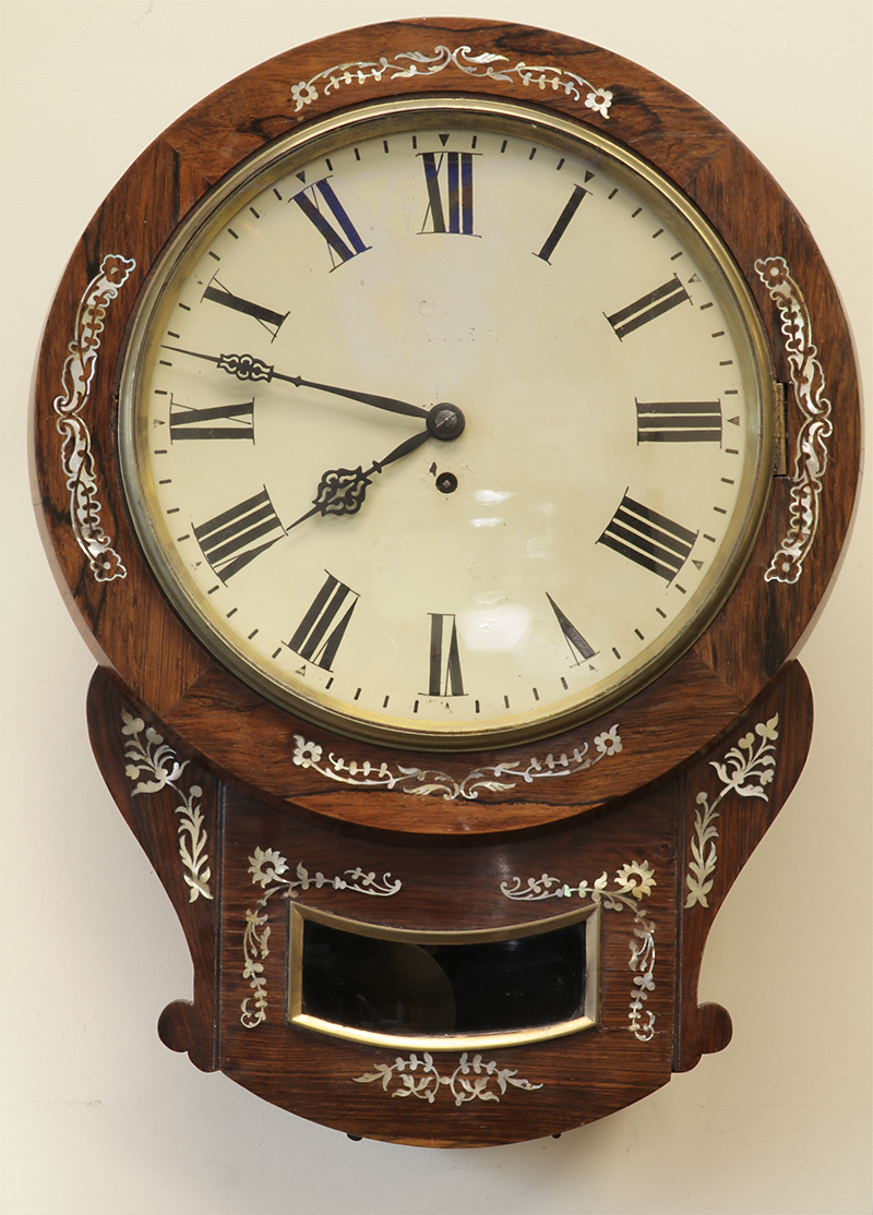 Rosewood and inlaid mother of pearl wall clock